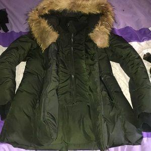 Hunter Green Mackage with fur hood